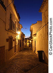 Street in the old town of Estepona at night. Andalusia, Spain