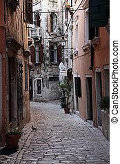 Street in the old town of Rovinj, Croatia