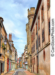 Street in the old town of Sens - France