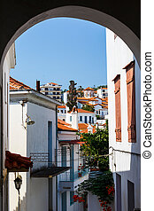 Street in the old town of Skopelos, Greece.