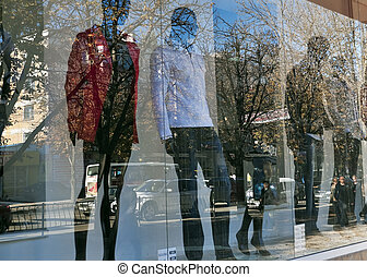 Street in the shop window - Reflection of the streets in the...