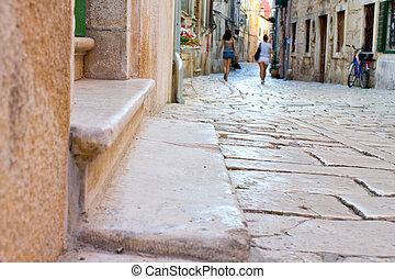 street in the small town Rovin, Croatia