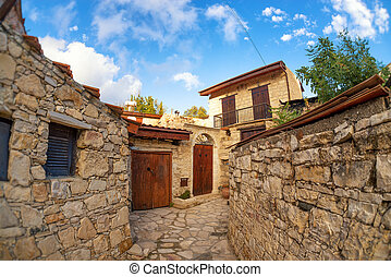Street in the traditional Cypriot village Lofu. Limassol ...