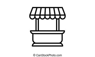 Street kiosk icon animation best on white background for any design