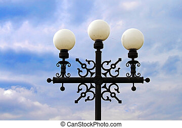 Street lamp against blue sky in Chernihiv, Ukraine