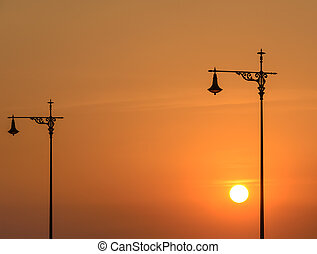 Street lamp at sunset