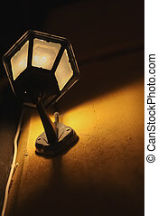 Street Lamp Attached To Wall Warm Tone