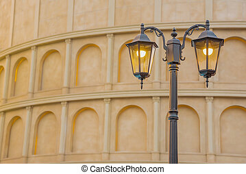 Street Lamp Classic With Ancient Building Background