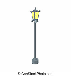Street lamp icon, cartoon style