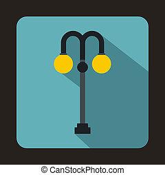 Street lamp icon, flat style