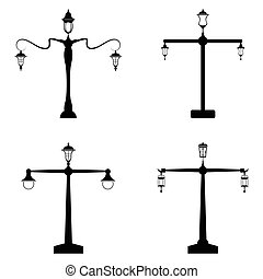 street lamp icon set