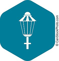 Street lamp icon, simple style