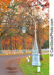Street lamp in autumn park.