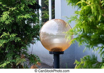 Street lamp in the form of a ball among green leaves