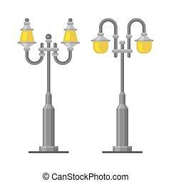 Street Lamp Light Posts Set on White Background. Vector...