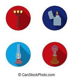 Street lamp, lighter, kerosene lamp, lamp of Edison. Light source set collection icons in flat style raster, bitmap symbol stock illustration web.