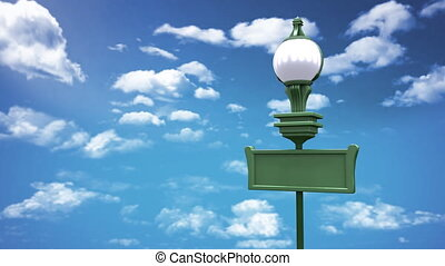 street lamp blue sky with low angle