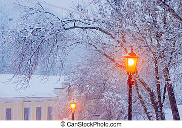 Street lamp on background of branches under snow