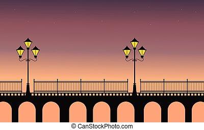 Street lamp on bridge at night scenery