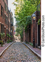 Street Lamp on Cobble Stone Street