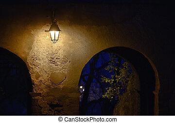 Street Lamp On The Brick Building