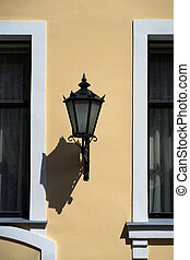 Street lamp on the facade of the house