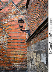 Street lamp on the wall of an old building