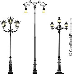 Street lamps - Italian wrought iron floor street lamps