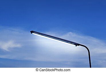 Street Lamps evening in blue sky vibrant
