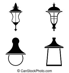 Street lamps icon set