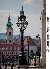 Street lamps in the city centre of Budapest, Hungary