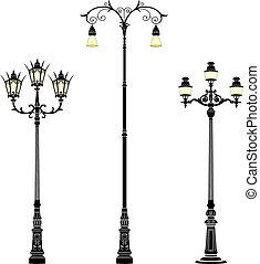 Italian wrought iron floor street lamps