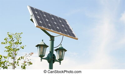 Street lamps with solar batteries