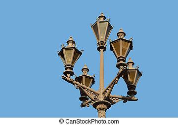 Street lantern on blue sky background