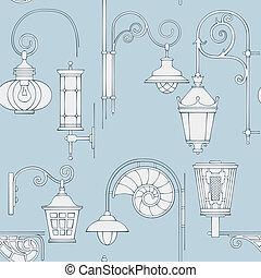 Street lantern seamless pattern - Street lantern drawing...