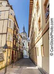 Street leading to the Santa Maria cathedral in Vitoria Gasteiz