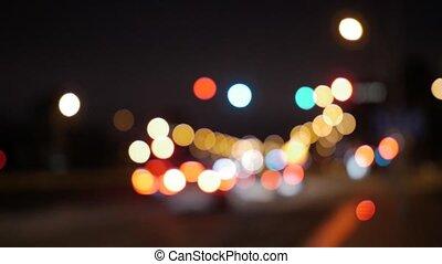 street light, abstract, blurred. - Blurred street light on a...