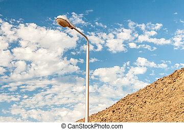 street light against a blue sky background