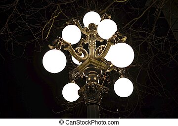 Street light at night, brass with dragon heads. - Gastown....