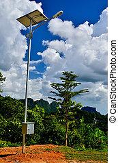Street light blue sky background
