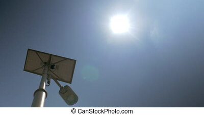Street light equipped with solar batter in daytime
