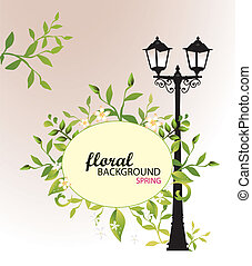 Street Light-Floral Background