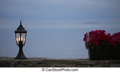 Street light on the beach at the evening