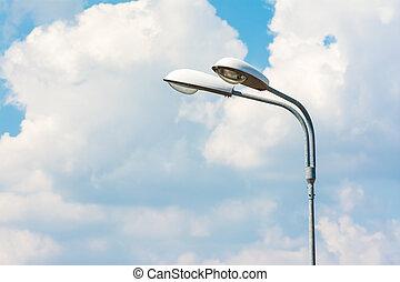 Street Light Post - Street Light On Blue Sky With White...
