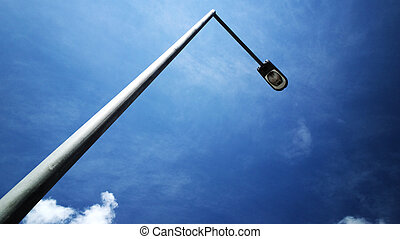 street light with blue sky