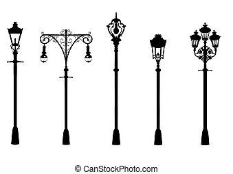 Illustration of five vintage street lights