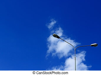 Street lights against the sky