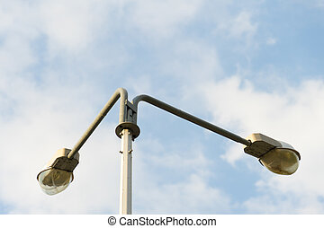 Street lights against the sky. Place for your text.