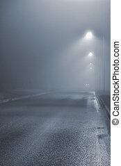 Street lights, foggy misty night, lamp post lanterns,...