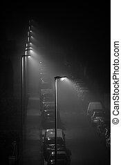 Modern LED street lights illuminating an empty foggy street, spider web on the lamp.